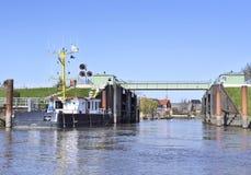 Steel drawbridge from water perspective Stock Photo