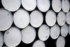 Steel Drums. White lida on steel drums Stock Photography
