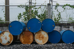 Steel drums. Stack of steel drums on floor Royalty Free Stock Images