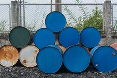Steel drums. Stack of steel drums on floor Royalty Free Stock Photos