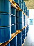 Steel drums stored in warehouse. Steel drums filled with chemical stored in warehouse Stock Images