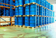 Steel drums stored in warehouse Royalty Free Stock Photo