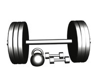 Steel dumbbells and barbell Stock Photo