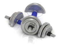 Steel dumbbells with blue handle Stock Photos