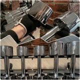 Steel Dumbbells In Gym Set Royalty Free Stock Image