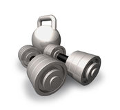 Steel dumbbells and weight. Royalty Free Stock Image