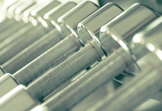 Steel Dumbells closeup Royalty Free Stock Photography