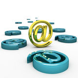 Steel e-mail internet icon 3d isolated on white Stock Photo