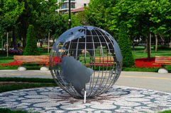Steel Earth Sphere On Public Park Royalty Free Stock Photo