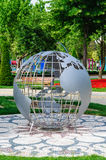 Steel Earth Sphere On Public Park Royalty Free Stock Photos