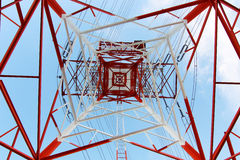 Steel electricity pylon. On bright blue sky Stock Photography