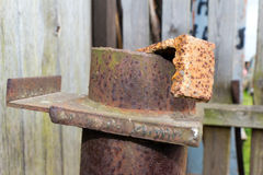 Steel element of iron corroded by rust. Very old. Strong influen Stock Photos