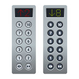 Steel Elevator Buttons Panel Set. Vector Stock Image