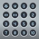 Steel Elevator Buttons Panel Set. Vector Royalty Free Stock Image
