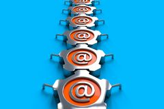 Steel email. Steel objects with email symbol on the blue floor Stock Photo