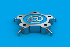 Steel email. Steel object with email symbol on the blue floor Stock Images