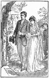 Victorian newly weds outside the church. Steel engraving of a Victorian couple on their wedding day royalty free illustration