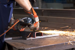 Steel factory. Sparks during working with steel in the factory stock image