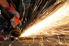 Steel factory. Sparks while grinding in a steel factory royalty free stock image