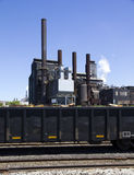 Steel factory. Plant with chimneys stock photos