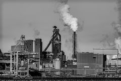Steel factory in the fog. Steel factory in the Netherlands in the winter Stock Images