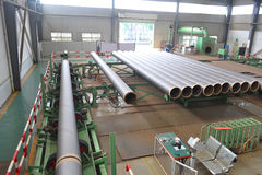 Steel factory inside. Production line of a big steel factory with modern machine, in Jiading district, Shanghai, China Stock Photography
