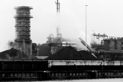 Steel factory. In the Netherlands in the winter Royalty Free Stock Photo