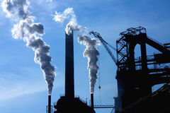 Steel factory and smoke Royalty Free Stock Images