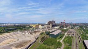 Steel factory with smokestacks at suny day.Metallurgical plant. steelworks, iron works. Heavy industry in Europe.Air pollution fro stock video