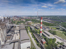 Steel factory with smokestacks at suny day.Metallurgical plant. Stock Photography