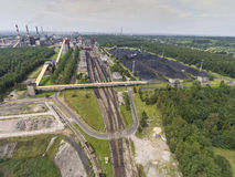 Steel factory with smokestacks at suny day.Metallurgical plant. View from above Stock Image