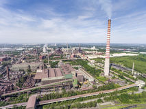 Steel factory with smokestacks at suny day.Metallurgical plant. View from above Royalty Free Stock Photo