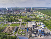 Steel factory with smokestacks at suny day.Metallurgical plant. View from above Royalty Free Stock Photos