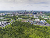 Steel factory with smokestacks at suny day.Metallurgical plant. View from above Stock Photos
