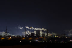 Steel factory working at night Royalty Free Stock Images