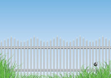 Steel fence and grass Royalty Free Stock Photos