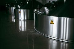 Steel fermentation vats stock photo