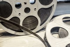 Steel Film reels for motion picture industry and movie theaters stock images