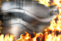 Steel fire flames burning background. Hot graphic illustration Stock Photos