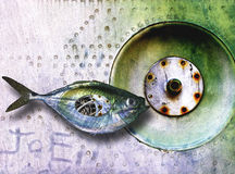 Steel Fish. Manipulated photograph fish, aircraft aluminum and wires Stock Image
