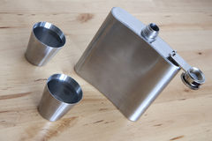Steel flask with spirit Stock Photography
