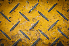 Steel floor plate paint with yellow pattern Stock Photography