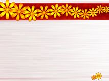 Steel and  flowers. Steel gray background with yellow and orange flowers Stock Image