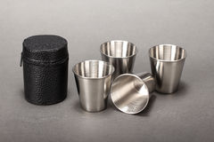 Steel folding cup Royalty Free Stock Image