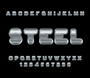 Steel font. Metal alphabet. Metallic shimmering letters. Chrome Royalty Free Stock Photo