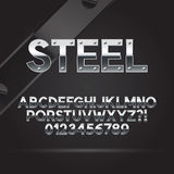 Steel Font and Numbers Stock Photo