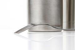 Steel fork. On steel background Stock Image