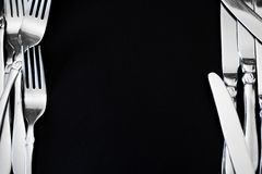 Steel fork  on a black background Stock Photo