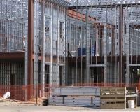Steel frame. Steel building under construction stock photo