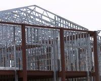 Steel frame. D building under construction stock image